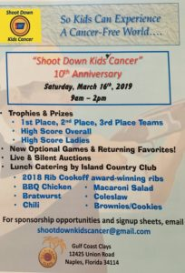An ad for the 10th annual Shoot Down Kids Cancer event