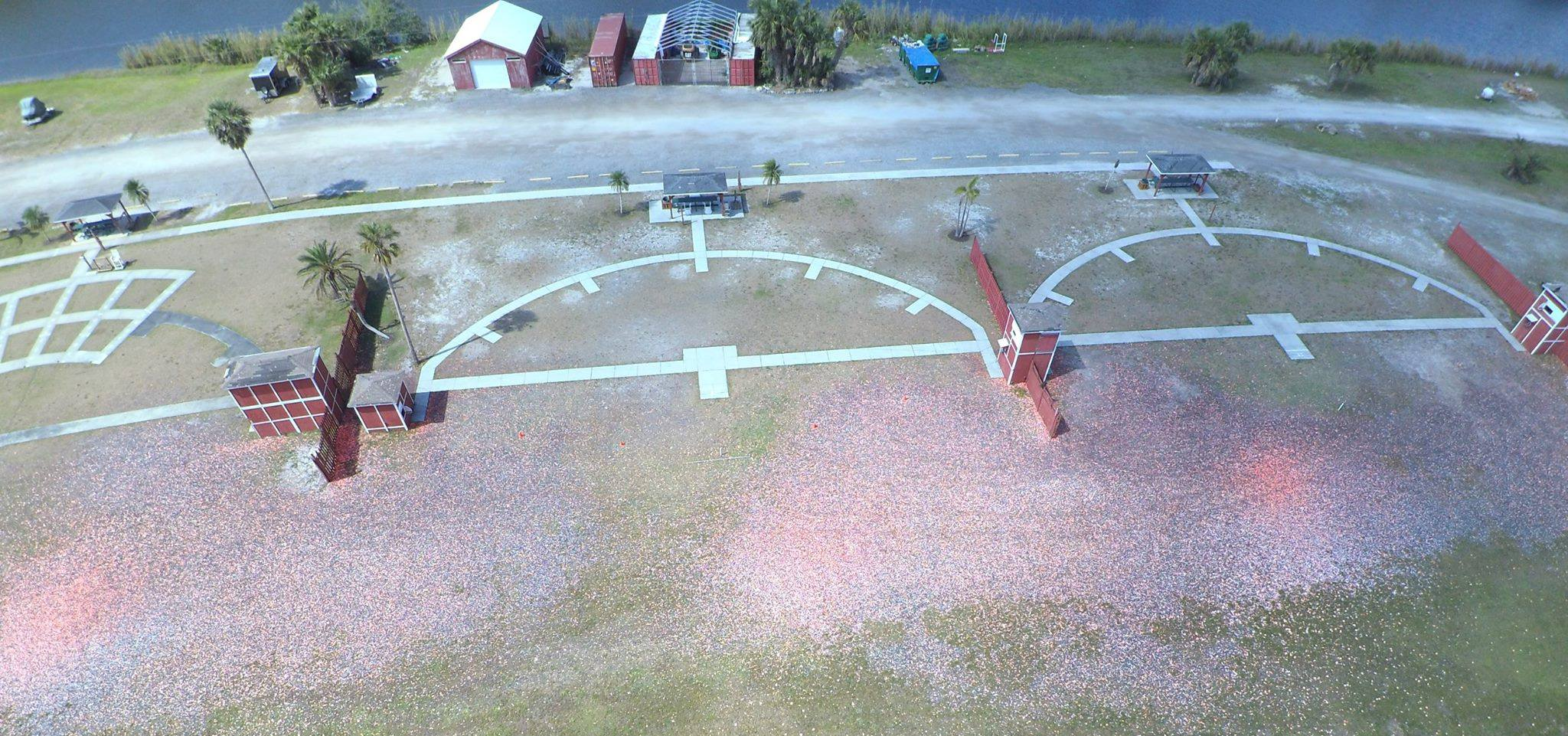 A top view of skeet fields at Gulf Coast Clays gun range in Naples, FL