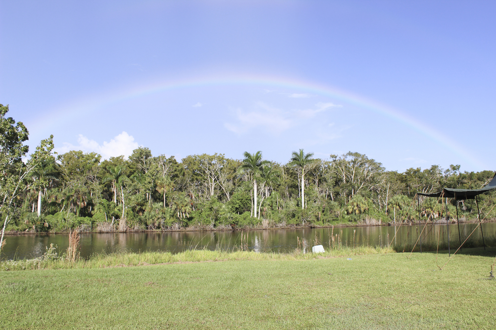 A full rainbow over the canal here at Gulf Coast Clays gun range