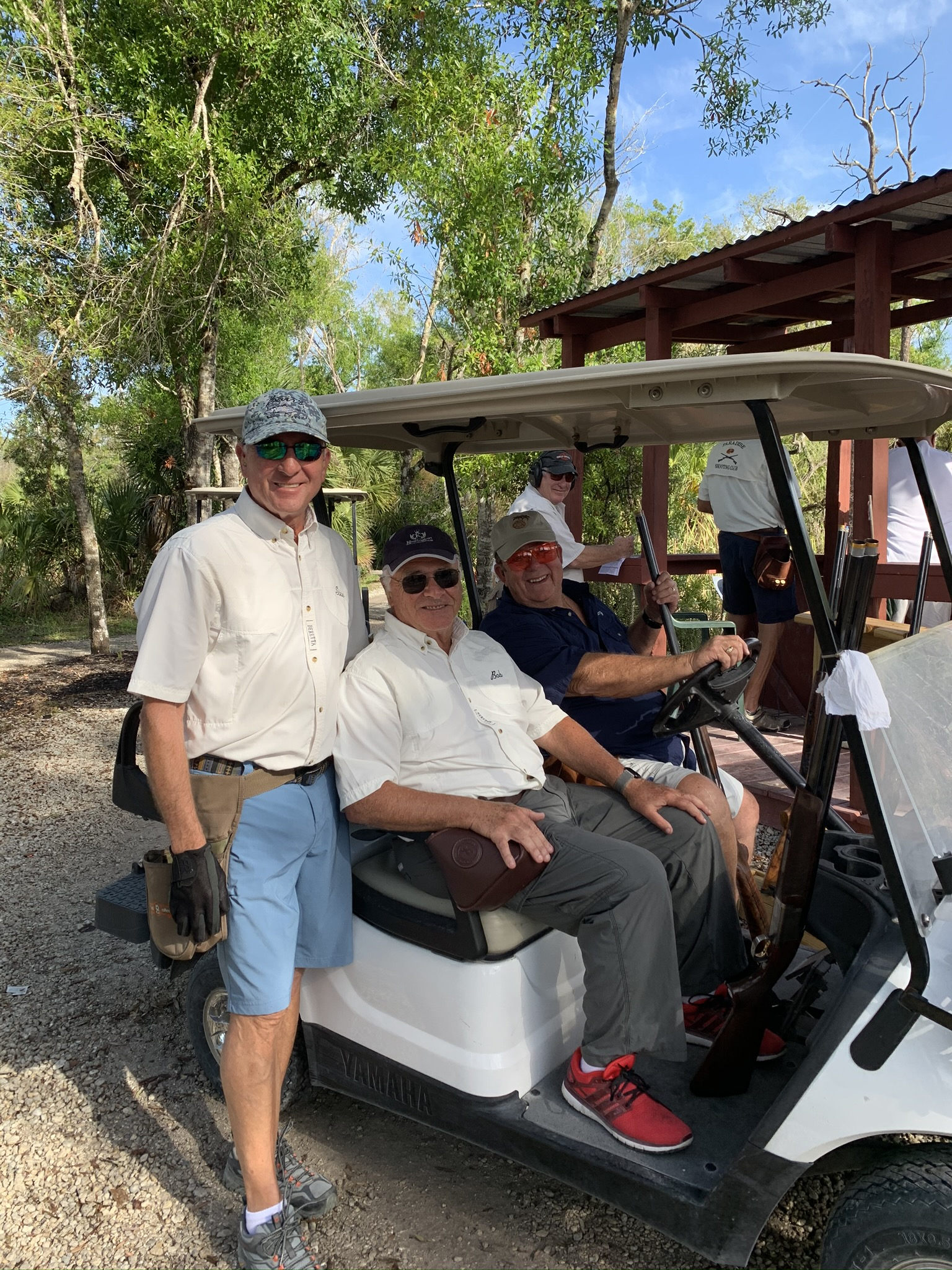 Members on Sporting Clays course at Members' party 2020 at Gulf Coast Clays gun club, Naples, FL